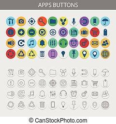 boutons, ensemble, vecteur, apps, icônes
