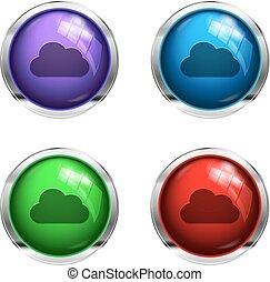 boutons, lustré, nuage