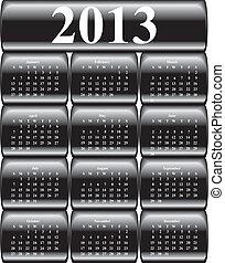boutons, lustré, vecteur, noir, calendrier, 2013