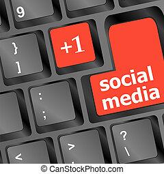 boutons, média, clavier, rouges, social