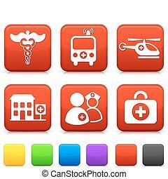 boutons, monde médical, carrée, icônes internet
