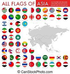 boutons, national, ensemble, drapeau, asiatique