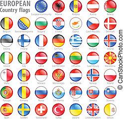 boutons, national, ensemble, drapeau, européen