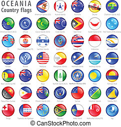 boutons, national, océanie, ensemble, drapeau