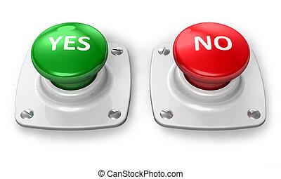 boutons, oui, non