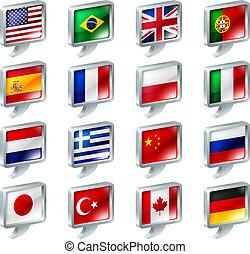 boutons, parole, drapeau, bulle, icônes