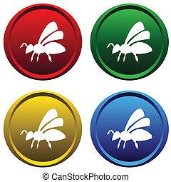 boutons, plastique, abeille