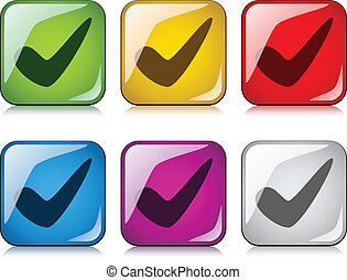 boutons, positif, checkmark, vecteur