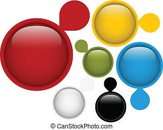 boutons, quatre, cercle, ensemble, verre
