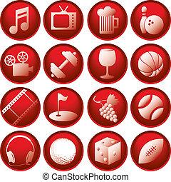 boutons, récréation, icône