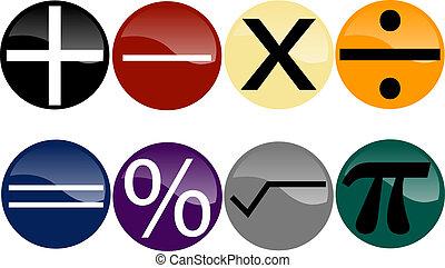 boutons, symboles, ensemble, math, multi-coloré