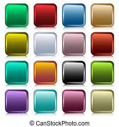 boutons, toile, carrée, ensemble