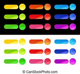 boutons, toile, coloré, gabarit
