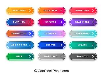 boutons, toile, différent, coloré, meute, buts