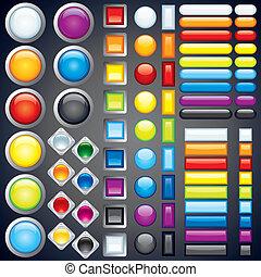 boutons, toile, image, icônes, collection, vecteur, barres.