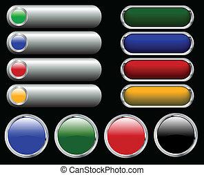 boutons, toile, lustré