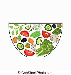 bowl., morceaux, légumes, cooking., éléments, coupé, ensemble, herbs., illustration., concept, vecteur, salade