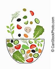 bowl., tomber, morceaux, légumes, cooking., éléments, coupé, ensemble, illustration., concept, herbs., vecteur, salade