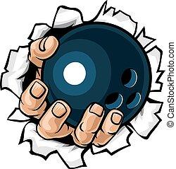 bowling, déchirure, fond, balle, main