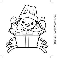 box., isolé, illustration, arrière-plan., vecteur, noir, cuisinier, appeler, blanc, mascotte, heureux
