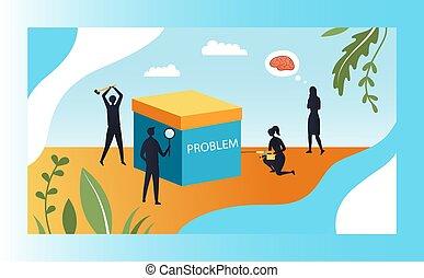 box., problème, groupe, créativité, concept, dessin animé, solutions., business, ou, silhouettes, problem., métaphore, grand, complexité, vie, style., illustration, plat, vecteur, forme, gens, résoudre, essayer