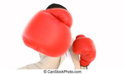 boxe, appareil photo, femme affaires