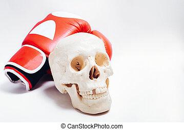 boxe, humain, gants, crâne, arrière-plan., paire, blanc