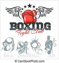 boxe, illustration., icônes, set., étiquettes, vecteur