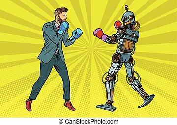 boxe, robot, homme