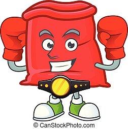 boxe, sac, santa, ouvert, rouges, dessin animé