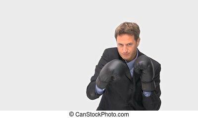 boxe, vers, appareil photo, homme affaires