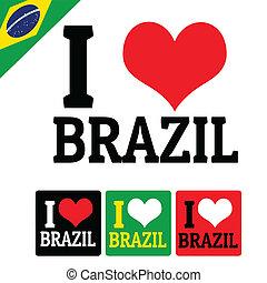 brésil, étiquettes, amour, signe