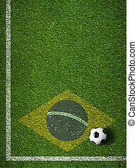 brésil, boule football, champ, drapeau, herbe