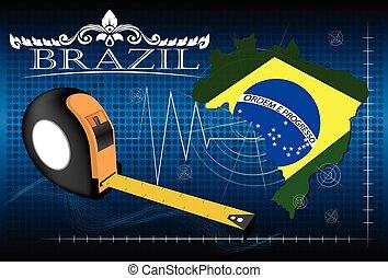 brésil, carte, vector., règle