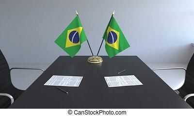 brésil, signer, agreement., animation, drapeaux, papiers, conceptuel, table., négociations, 3d