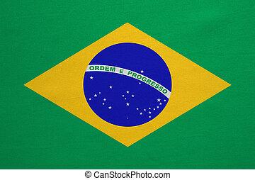 brésil, vrai, détaillé, tissu, texture, drapeau