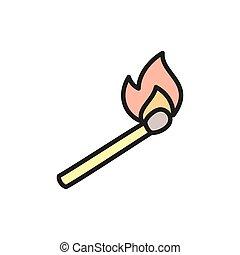 brûlé, allumette, icon., plat, couleur, ligne, crosse