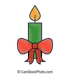 brûlé, arc, décoration, bougie, noël, rouges, célébration