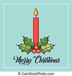 brûlé, bougies, décoration, baie, joyeux, houx, noël