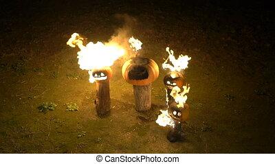 brûlé, couleur, halloween, rigolote, dusk., lent, bûche, fâché, fumée, brume, champ, exhales, potiron orange, steam., grand, brûler, potirons, effrayant, obscurité, arbre, respire, mouvement, flamme