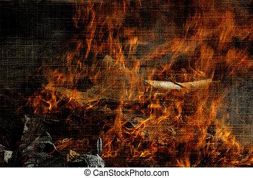 brûlé, décharge ordures