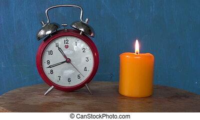 brûlé, horloge, bougie, reveil