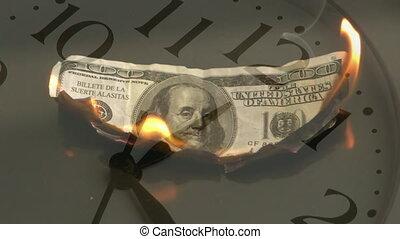 brûlé, jeûne, horloge, en mouvement, arrière-plan., billet banque, animation, dollar, américain