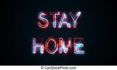 brûlé, séjour, rendre, graphique, mots, informatique, inscription, avertit, home., engendré, danger., sur, fond, pandémie, 3d, concept.
