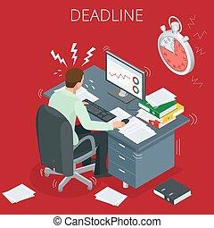 brûlé, surmené, because, dehors, beaucoup, 3d, vecteur, sien, projet, isométrique, concept, tâches, deadlines., a, deadline., plat, homme, lieu travail, man., illustration.