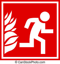 brûler, évacuation, signe