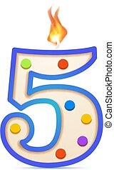 brûler, 5, formé, anniversaire, blanc, nombre, bougie, années, cinq, anniversaire