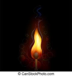 brûler, allumette, flamme