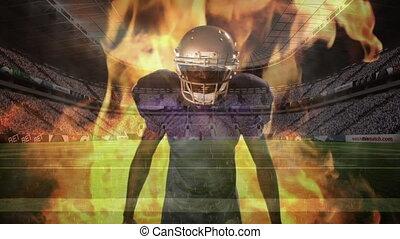 brûler, américain, joueur, lui, fâché, derrière, football