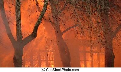 brûler, bâtiment, consomme